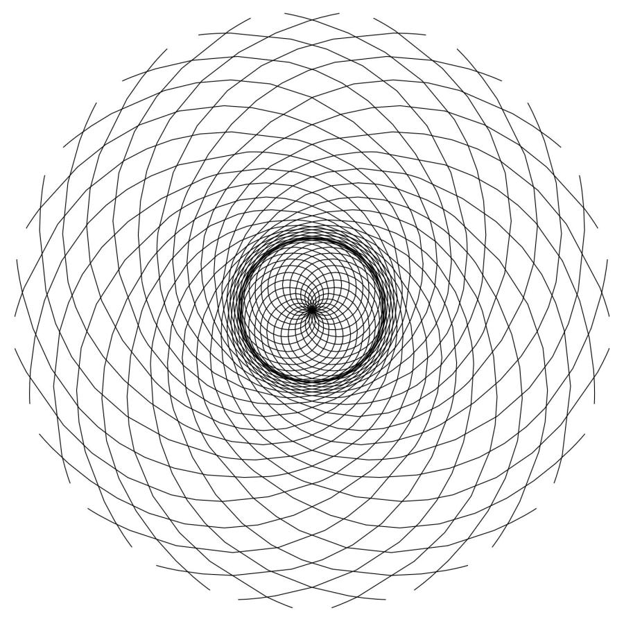 Fibonacci Drawing One - 21 Spirals Flipped
