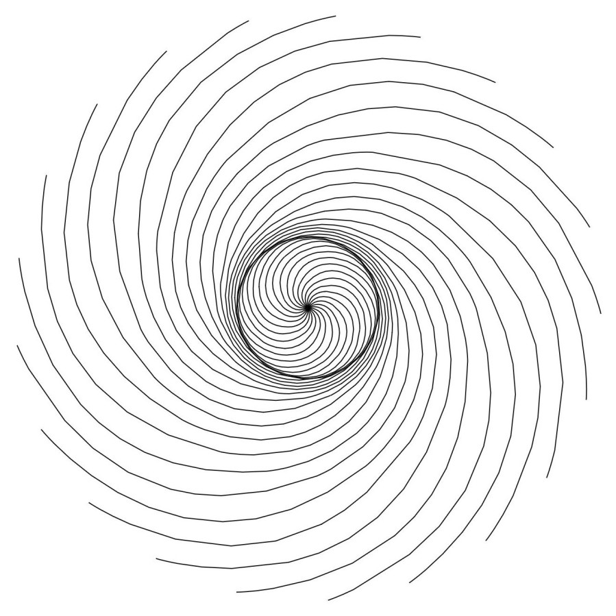 Fibonacci Drawing One - 21 Spirals